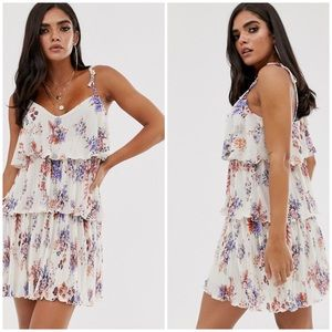 ASOS Plisse tiered floral Dress Tie Straps 4